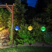 Solar Powered Crackle Glass Ball Cor Mudando Luzes de estaca Stainless Steel Solar Garden Lawn Lights Patio Decorative Landscape Lâmpadas