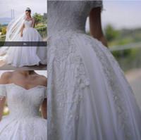Wholesale shoulder veils online - Off the Shoulder Vintage Wedding Dresses Lace Appliques Beaded Saudi Arabic Style Satin Bridal Gown with Veil