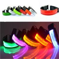 Wholesale Led Lights Shoelace - LED Optical Fiber Light-emitting led Arm Band Luminous Arm Belt Running Riding Cheer Props Warnings Fluorescence Reflection LED Arm Band
