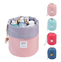 Wholesale Wholesale Makeup Tables - wholesale fashion round shape Macarons 4 colors girl wash makeup bag cosmtic travel drawstring bag toiletry Organizer Storage Bag