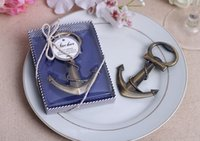 Wholesale wholesale gift giveaways - Free shipping wedding giveaways coppery Anchor Shaped Chrome Bottle Opener In Gift Box bridal favors wine opener