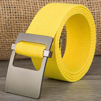 Wholesale Wholesale Polyester Strapping - 130cm Casual Style Deep Blue Men Belt For Jeans Ladies Women Unisex Canvas Belt Waist Strap Female