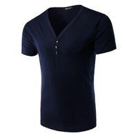 Wholesale Hearts Blouses - Men's short sleeve T-shirt Collar Shirt Mens V collar size heart-shaped half sleeve blouse s casual T-shirt in summer