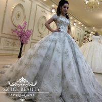 Discount vestidos wedding dress lace - Luxurious Bling Lace Wedding Dresses Plus Size Princess Ball Gowns Short Sleeves Beaded Bridal Gown 2017 Arabic Tulle Vestidos De Novia