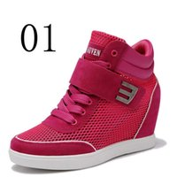 Mulheres Casual Fashion Wedge Saltos altos Aumentar Pink Red Cinza Round Toe Lace Up Mesh Respirável Mulheres Sapatos