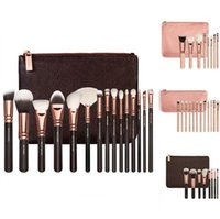 8pcs 12pcs 15pcs black tool bags - NEW ROSE GOLDEN COMPLETE MAKEUP BRUSH SET Professional Luxury Set Make Up Tools Kit Powder Blending brushes Black Pink bag