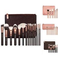 Wholesale Makeup Brush Set 15 - NEW 8 12 15 PCS ROSE GOLDEN COMPLETE MAKEUP BRUSH SET Professional Luxury Set Make Up Tools Kit Powder Blending brushes Black + Pink bag