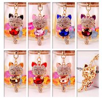 Wholesale Rhinestone Alloy Animals Keychains - DHL FREE Lucky Smile Cat Crystal Rhinestone Keyrings Key Chains Holder Purse Bag For Car Christmas Gift Keychains Jewelry llaveros
