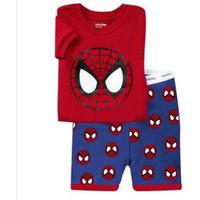 bebek süpermen setleri toptan satış-Örümcek adam Batman Superman Çocuk Giysileri Bebek Erkek Kısa Kollu Pamuklu Pijama PJS Çocuk Pijama Pijama Pijamas SP130 Setleri