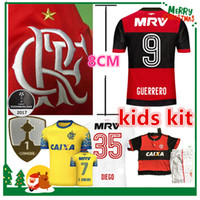 Wholesale Sports Jersey Kits - 17 18 flamengo jersey Flamengo Jersey 2017 2018 Brasil Flemish Away ZICO ELANO HERNANE Soccer Jerseys sports kids kit boy chlid shirt