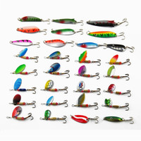Wholesale fishing lure kits - 30pcs set Spinner Baits Spoon Fishing Bait Lure Kit Sets Swim Lure Bait for Outdoor Big fish Easy For Fishing