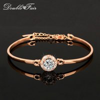 Wholesale Cz Crystal Diamond Bangle - Unique Chic AAA+ CZ Diamond Fashion Charm Bracelets & Bangles 18K Rose Gold Plated Crystal Party Jewelry For Women pulseras DFH087