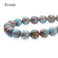 Wholesale Diy Gemstone - Natural Blue Decorattive pattern Agate Round Loose Beads Gemstone 4-12MM For DIY and Jewelry Making S-110 Stome