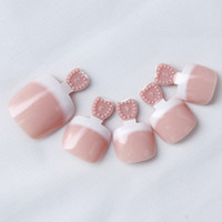 24pcs / set Nouvelle forme pleine couverture artificielle False Nails Foot Pedicure Bricolage Pré-conçu Salon French Toe Nail Art Tips