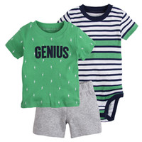 Wholesale Toddlers Boy Clothes - Baby Boys Clothing Sets Genius Letter T Shirt Striped Rompers Tops Short Pants Toddler Boutique Children Clothes Short Sleeve Outfits