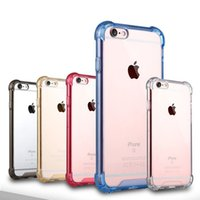 Wholesale Hard Back Bumper Frame - Transparent Shockproof Acrylic Hybrid Armor Bumper Side Soft TPU Frame Back PC Hard Case Clear cover for s8 iphone 7 6 6s Plus