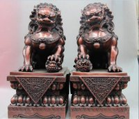 17 China Palace Red Copper Feng Shui Foo Dog Lion Son Ball Guardian Door Statue