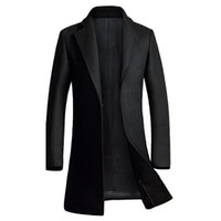Wholesale Mens Wool Cashmere Blend Overcoats - Wholesale- Cashmere Coat Men 2016 Winter New Long Wool Blends Coat Slim Fit Mens Pea Coat Jacket Casual Manteau Homme Fashion Overcoat