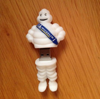 Wholesale funny drives - 100% New 256gb 128gb 64GB 32GB 16GB Creative Cartoon Michelin Figure Funny USB Flash Drive Gift to Him