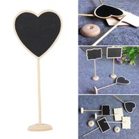 Wholesale Heart Lollies - Mini Chalkboard Blackboard on Stick Wedding Decoration Lolly Heart Retangle Pattern Party Tag