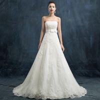 Wholesale Korean Models Bra - Vintage Charming Cheap Bra Bows Bride Slim A line Wedding Dress Elegant Korean Version Lace Decals Bead Chapel Vestios De Novi Wedding Gowns