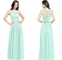 Wholesale High Empire Waist Evening Gowns - 2018 Burgundy Navy Blue Mint Chiffon Bridesmaid Dresses Beach Weddings A Line Empire Waist Sheer Cheap Evening Prom Gowns CPS616