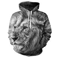 Wholesale Oem Hoodies - Wholesale- 2 Styles Real American size lion 3D Sublimation Print OEM Hoody Hoodie Custom made Clothing plus size