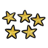 Wholesale Clothes Brand Iron Patches - Brand 20PCs Gold Star Embroidered Iron On Badges Patches For Clothing Cartoon Motif Applique Sticker For Clothes