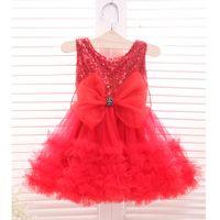 Wholesale Wholesale Red Dress Pageants Girls - Christmas party dresses new Girls red sequins tulle tutu cake dress kids back V-neck bows vest princess dress Children Pageant Dress A0144