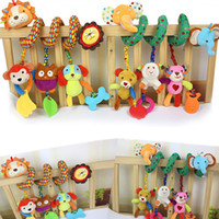Wholesale Infant Double Stroller - Wholesale- Infant Bed Rattle Baby Toys Ring Sound Activity Spiral Bed Stroller Toy Double Head Lion Elephant Hanging Bell Crib Rattle Toys
