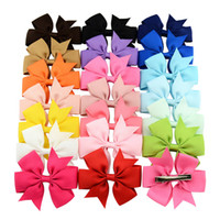 Wholesale Alligator Hair Clips Grosgrain - Baby Girls Bow Hairpins 3inch Grosgrain Ribbon Bows With Alligator Clips Childrens Hair Accessories Kids Boutique Bow Barrette Clips KFJ113