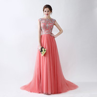 Wholesale Fabric Collar Pattern - Evening Gowns Scoop Neck Sweep Train Beaded Patterns Tulle Fabric Zipper Back Prom Dresses Hot Sale
