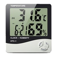 Wholesale Digital Electronic Temperature Clock HTC LCD Indoor Humidity Meter Daily Alarm And Calendar Display with Retail Package New DHL OTH357