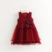 kız resmi yelekler toptan satış-Kızlar Katı Yün Yelek Elbise Çocuklar için Resmi Giyim Örgü Tutu Elbise Parti Akşam Kız Prenses Vestidos
