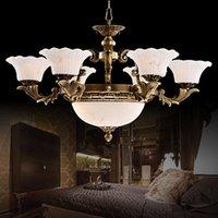 lampes de marbre vintage achat en gros de-Lustres luxe européen royal vintage cuivre lustres en marbre lustre en laiton léger led pendentif luminaire villa lampe