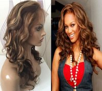 Wholesale Highlight Brown Hair - Wavy highlight full lace wig with natural hairline 130 density loose wave highlight lace wig brazilian hair lace front wigs with baby hair