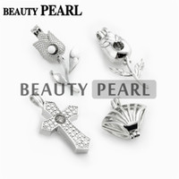 10 Pieces Atacado Jóias Mix lotes Love Pearl Cages Locket Pendant Mountings Mixed Flower Cross em forma de concha