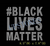 """Wholesale Text Design Free - Free Shipping #Black Lives Matter (Large 8.5"""") Bold Text Afro hotifx Rhinestone Transfer motif design for clothing made in China"""