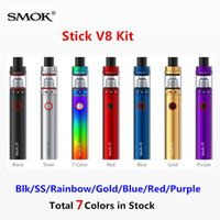 ss red - Newest Smok Stick V8 Starter Kit Blk SS Rainbow Gold Blue Red Purple Colors with mAh Stick V8 Battery ML TFV8 Big Baby Atomizer Tank
