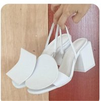 Wholesale black rubber block resale online - New Brand Jacquemus White Black Designers Slingback Sandals Chunky heels Leather Buckle Fashion Summer T Show Party Pumps Block Heels