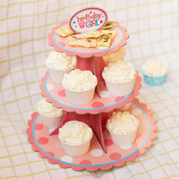 Décorations De Gâteau De Mariage Pas Cher-Kawaii Cake Stand Birthday Party Paper Cake Stand Round Cupcake Plate For Wedding Cake Décoration d'affichage 3 couches ZA3035