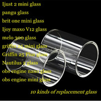 Wholesale Tube Ones - Ijust 2 pangu brit one Ijoy maxo v12 melo 300 griffin 25 plus nautilus 2 obs engine nano Clear Pyrex Replacement Glass Tube
