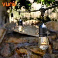Wholesale E27 String - Wholesale- New! 48Ft(14.8M) Outdoor Vintage String Light with 15 Incandescent E27 Clear S14 Bulbs Black plug-in Cord Globe light String Set