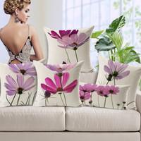 el boya pembe çiçekler toptan satış-Pastoral Pembe Mor Çiçek Çiçek Yastık El Boyama Çiçekler Sanat Minder Kapak Ev Kanepe Dekoratif Keten Pamuk Yastık Kılıfı Hediye Kapakları