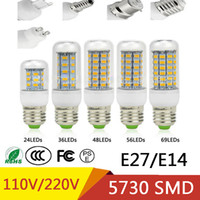Wholesale E14 48 Led - Best Sellers SMD 5730 Lampada LED Lamp E27 220V 110V Corn Light E14 LED Bulbs Chandelier 36 48 56 69 72 LEDs