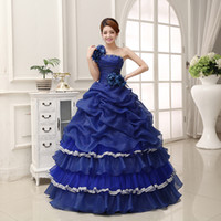 Wholesale Lace Embroidery Dress Catwalk - Online Cheap New Quinceanera Dresses Blue One Shoulder Flower Ruffles Tiered Sexy Catwalk Dress Plus Size Prom Performance dress
