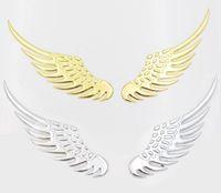 Wholesale 3d Auto Metal Car Stickers - Universal 2PCS pair Car 3D Metal Angels Wings Sticker Car Auto Decoration Emblem Badge Decal Sticker Motorcycle Accessories Gold Sivler