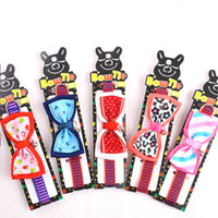 Wholesale Bowtie Necklaces - Dogs Cute Collars Bowtie Bowknot Shap Two Sizes Pets Accessories Supplies Harness Collar Lead Necklace Mixed Colors S M