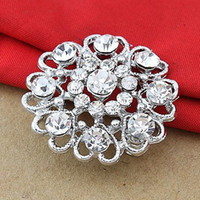 Wholesale Nice Heart Flowers - Free Shipping !Sparkly Silver Planted Small Size Clear Crystal Rhinestone Nice Design Flower Heart Pin Brooches For Wedding Bouquet