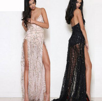 Wholesale Black Cocktail Dress Europe - Hot Europe Fashion Women's Sequins Long Dress Lady's Sexy V Neck Strap Split Cocktail Party Causal Backless Dresses